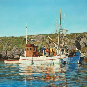 Boat in Greenland on the ocean on a sunny day, oil painting by Canadian David Marshak