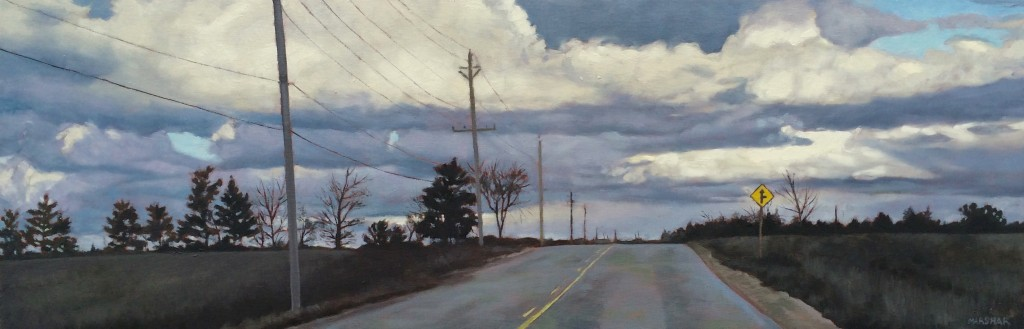 landscape painting of Grey County Road with moody clouds