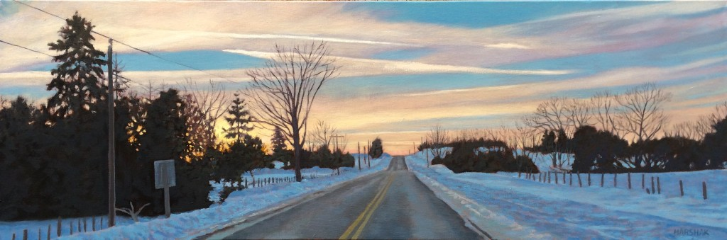 Landscape painting of Grey County road and sunset