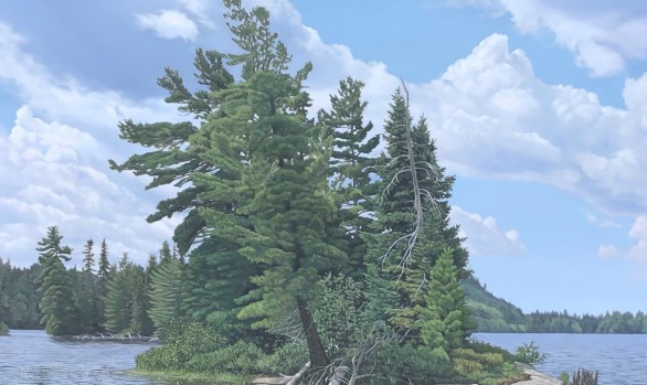 large oil painting of an Island